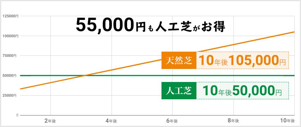 55,000円も人工芝がお得 天然芝10年後105,000円 人工芝10年後50,000円